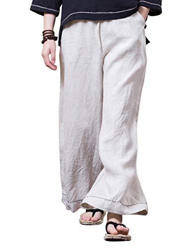 Beige Biancheria Signore Linen Pants Le Vita Zhhlaixing Traspirante Larghi Elastico Spiaggia Quotidiano Pantaloni Stile Indossare Tessuto Qualità ZZI6a