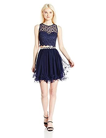 39f3ce25b6 My Michelle Sequin Hearts Junior's Two Piece Short Prom Dress with Lace  Details