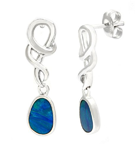 Pearlz Ocean Blue Boulder Opal Dangle Earrings (Boulder Opal Earrings)