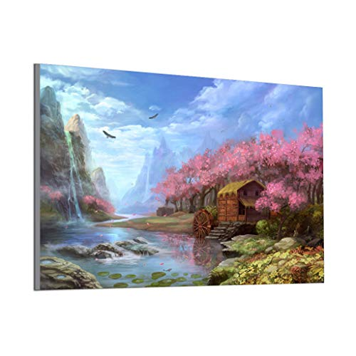 (DIY Oil Painting, Acrylic Paint by Number Kits for Adults Romantic Countryside Scenery Painting for Home Wall Decor, Quiet Summer Landscape 11.8x9.8 inch (Peach Blossom Source))