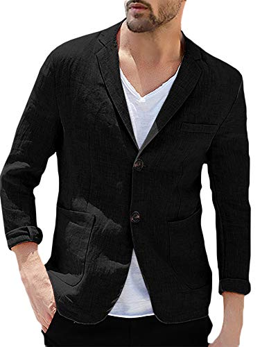 - Enjoybuy Mens Linen Tailored Blazer Casual Long Sleeve Two-Button Lightweight Suit Jacket (XX-Large, 01-Black)