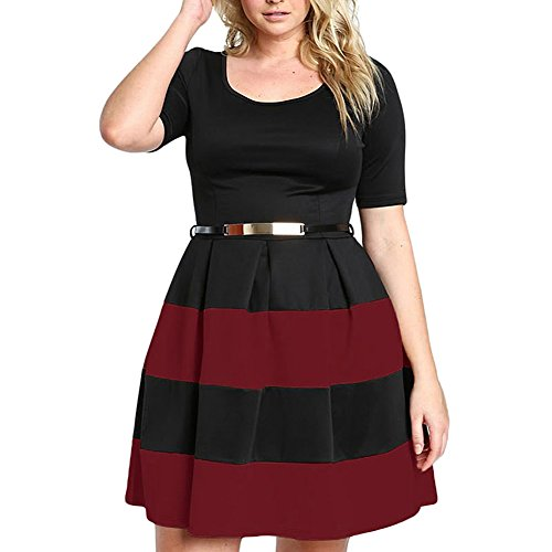 Dress Belted Color Striped Business Plus Short Mini Comeon Wine Size Block Red Cocktail Women Sleeve qUIBwHT