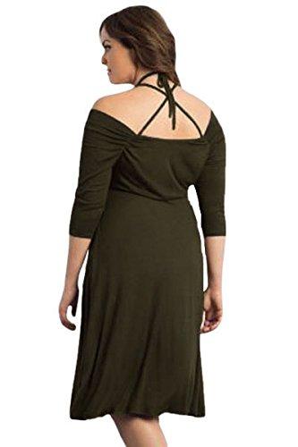 NEW Femme de plus Taille Kaki Off épaule robe Midi Bureau robe Casual Soirée porter Taille 3X L UK 18–20eu 46–48