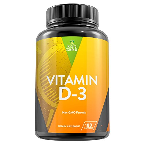 Vitamin D3 5000 IU Dietary Supplement By Naturo Sciences - Non GMO Formula Made with Extra Virgin Coconut Oil - Supports The Immune System, Aids Dental Health & Helps Maintain Strong Bones - 180 Sgels