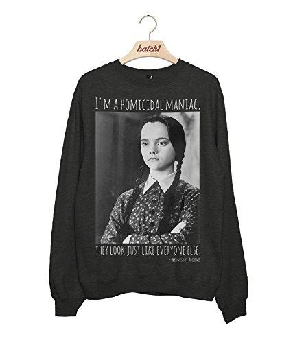 (Batch1 Wednesday Addams Homicidal Maniac Addams Family Halloween Fancy Dress Womens Sweatshirt (X-Large,)