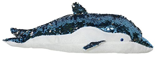 Barry Owens Co. 18 Inch Color Changing Sequin Dolphin Plush Pillow (Blue) (Pillow Decorative Barry)