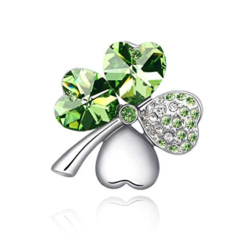 MJULY St.Patrick's Day Good Luck Charm Four Leaf Clover Shamrock Clover Pin Brooch Costume Jewelry (Green) -