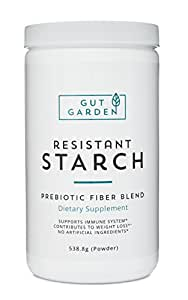 Resistant Starch All Natural Prebiotic Fiber Supplement. Unsweetened & Unmodified Potato Starch & 4 Soluble Fibers by Gut Garden - Increases Metabolism, Health and Overall Well-Being