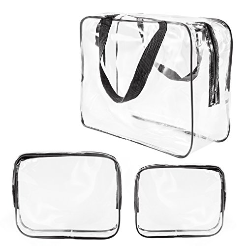 3Pcs Crystal Clear Cosmetic Bag TSA Air Travel Toiletry Bag Set with Zipper Vinyl PVC Make-up Pouch Handle Straps for Women Men, Roybens Waterproof Packing Organizer Storage Diaper Pencil Bags Black - Load Crystal