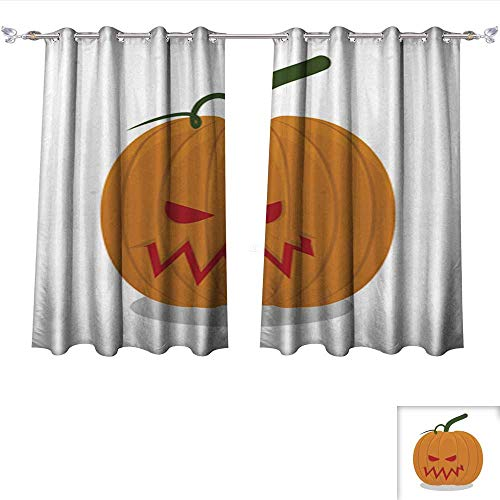 Blackout Curtains Panels for Bedroom Scary Pumpkins for Halloween Terrible Holiday Symbol Solid Ring Top Window Drapes W120 x L72/Pair ()