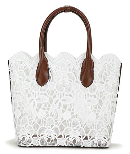 Women Lace Tote Vintage Solid Clear Bag Handbag with White Cotton Lace - Lace Tote Leather