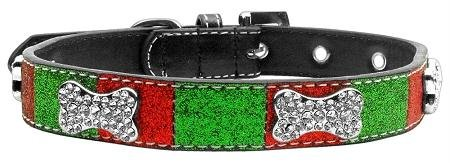 Mirage Pet Products Christmas Crystal Bone Collar, Large