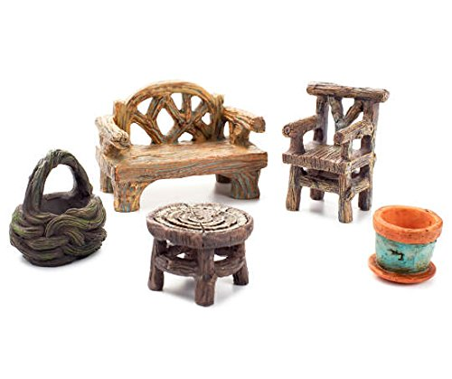 Fairy Garden Accessories, Fairy Garden Seating Collection, 5 piece miniature furniture set (5) by Big Lots Stores, Inc
