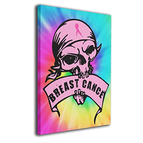 Okoart Canvas Wall Art Prints Breast Cancer Awareness Skull Fuck Cancer -Picture Paintings Modern Decorative Giclee Artwork Wall Decor-Wood Frame Gallery Wrapped ()