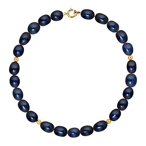 Pearls & Colors - Bracelet multi rangs - Or jaune 9 cts - Perle d'eau douce - 18 cm - AM-9BRC RIOR 56 ARJ-BL