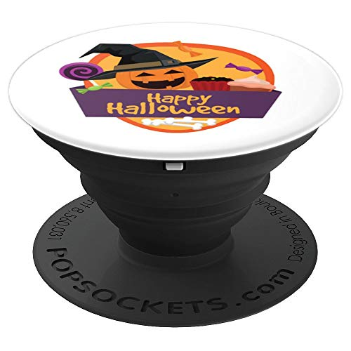 Happy Halloween popsocket Pumpkin witch hat cupcake bone - PopSockets Grip and Stand for Phones and Tablets -