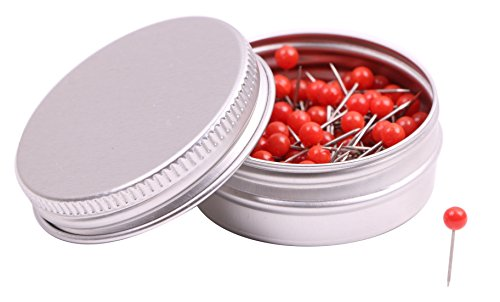 PTC Office 1/8 Inch Small Round Head Map Tacks Pins for Home Office Use and DIY Craft Project (Red, 100PCS) ()