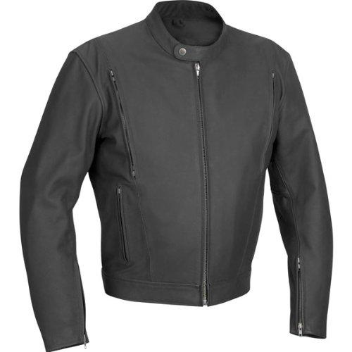 (River Road Alloy Vented Leather Jacket - 46/Matte Black)