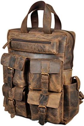 Devil Hunter 18 Leather Backpack for men women Brown Leather Laptop Backpack