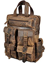 """18"""" Leather Backpack for men / women Brown Leather Laptop Backpack"""
