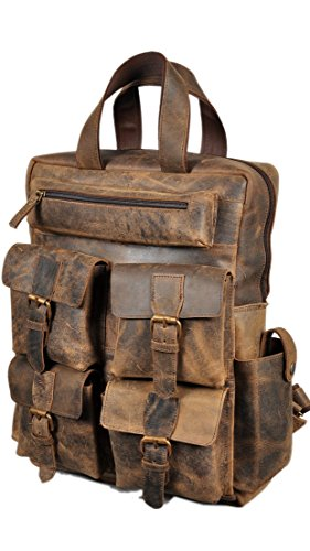 "Devil Hunter 18"" Leather Backpack for men/women Brown Leather Laptop Backpack"