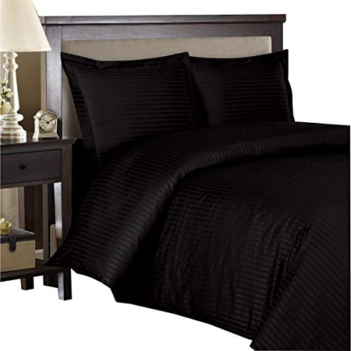 (800 Thread Count -3 Piece- Egyptian Cotton Duvet Cover King / California King Sets (duvet cover and shams) Striped Black)