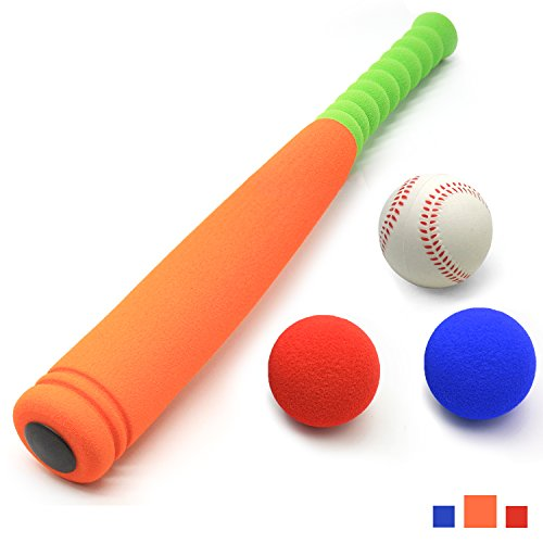 [Carry Bag Included] CELEMOON Super Safe Kids Foam Baseball Bat Toys with 2 Balls, Portable Carrying Bag Included, For Children Age 3 to 5 Years Old, Orange