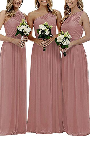 Staypretty Bridesmaid Dresses for Women Long One Shoulder Asymmetric Chiffon Prom Evening Gown Dusty Rose 8 Chiffon Prom Evening Gown