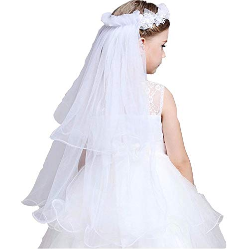 GSCH Girls' First Communion Veils Wreath Wedding Flower Pearls Crystal Lace Veil Hair Accessory 2 Tier (A White) -