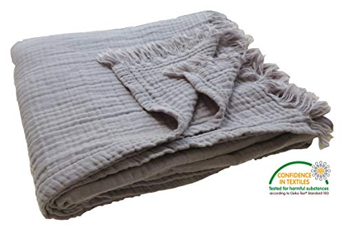 KyraHome Pre-Washed Organic Muslin Throw Blanket for Adult and Kids, Plant Dyed Yarn, Breathable Super Soft 100% Cotton, Cozy, Warm, Lightweight Blanket, All Season, Oeko-Tex Certified (50