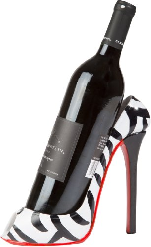 KitchInnovations Zebra Print High Heel Wine Bottle Holder