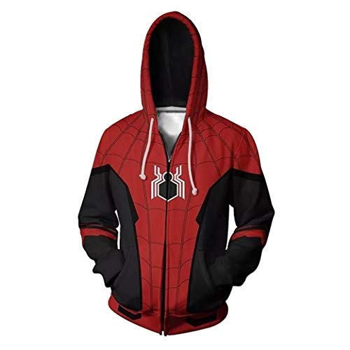 (Gurbanton Spiderman Far from Home Hoodie Costume Adult Men 3D Printed Zip Up Sweatshirt for Halloween Holiday Party (Men Far from Home A, US XXL/Label)