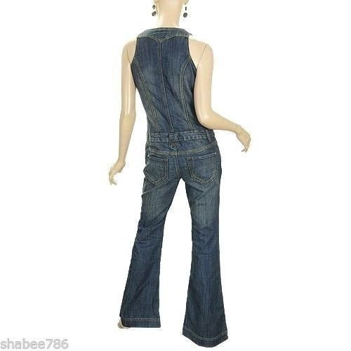 f96da38531bf Amazon.com  Vanilla Star New Womens Denim Jumpsuit 60 s 70 s Vintage Over  All Jeans M Medium  Clothing