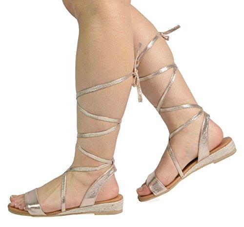 DREAM PAIRS Womens Formosa_3 Low Platform Wedges Mid Calf Tie Up Sandals 3-gold rNVdBQ2s