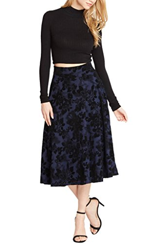 Womens Velvet Floral Flare Midi Skirt USA NV S