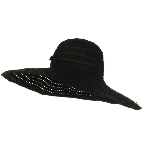 Jeanne Simmons Ribbon Toyo Braid Wide Brim Flower Self Tie Hat - - Hat Braid Toyo Wide