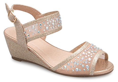 OLIVIA K Girl's Peep Toe Rhinestone Ankle Strap with Adjustable Buckle Wedge Sandals - Adorable, Comfort, Casual by OLIVIA K (Image #3)