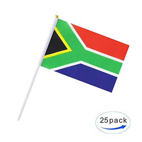 25 Pack Hand Held Small Mini Flag South Africa Flag South African Stick Flag Round Top National Country Flags,Party Decorations Supplies For Parades,World Cup,Festival Events ,International (African Countries Flag)
