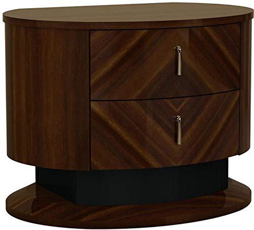 Benjara BM194590 Two Drawers Wooden Nightstand with Teardrop Metal Handles, Brown and Silver, Black ()