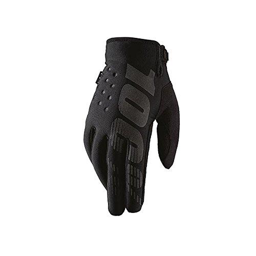 100% Brisker Adult Leather/Textile Off-Road Motorcycle Gloves - Black / 2X-Large