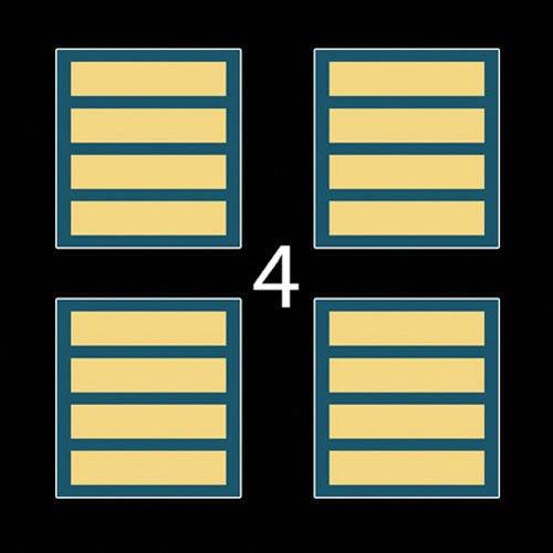 "US Army Rank Overseas Service Stripe (6 months service) Lower Right Dress Blue Uniform X4 1 3"" (4)Four Decal Sticker Lot"