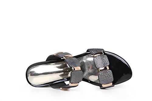 Amoonyfashion Da Donna Tacchi Da Gattino Colore Assortiti Pull On Open Toe Slippers Viola