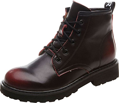 Abby 903-12 Womens Comfort Retro Combat Winter Lace Up Patent leather Leather Martin Boots Wine&red sluaqf6ie