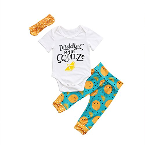 Daddy Onesies - 3pcs Baby Girl Pants Outfit Lemon Long Pants +Letter Cotton Short Sleeve Romper+ Orange Headband Clothes Set (70(0-6 Months), White Green)