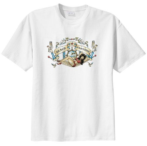 Tattoo Beach Paradise T Shirt  Big And Tall And Regular Sizes
