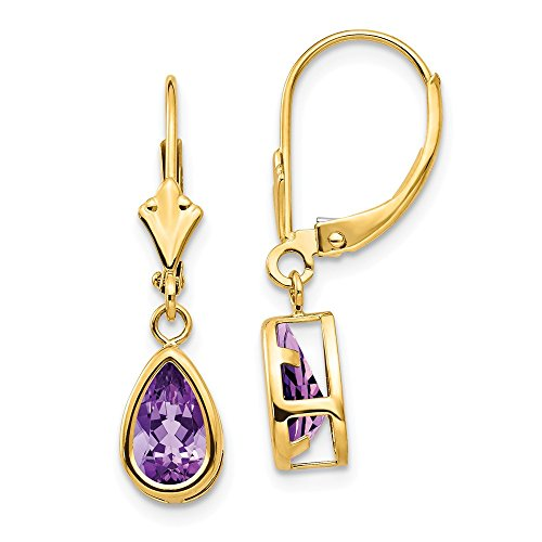Mia Diamonds 14k Yellow Gold 8x5mm Amethyst Dangle (14k Amethyst Dangle Earrings)