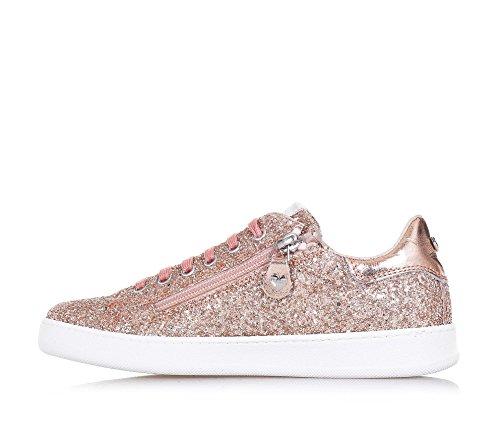 TWIN-SET - Rosa Schuh mit Schnürsenkeln aus Glitzern und Leder, phantasievoll und modisch, seitlich ein Reißverschluss, Mädchen, Damen