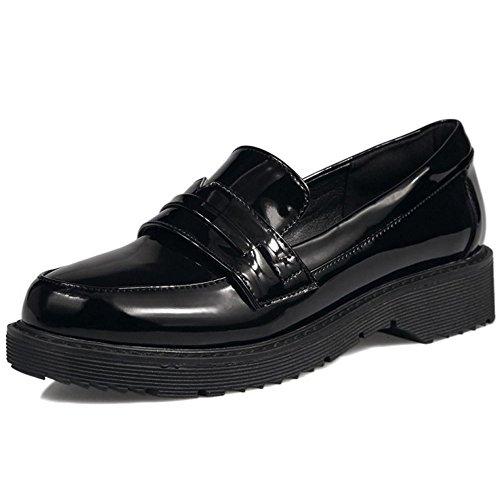 Taoffen Femmes Plate-forme Confortable Mocassins Chaussures Chaussures Dautomne Plat 1328 Noir