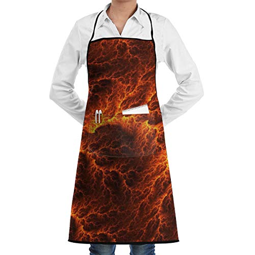 Pianishui Lava Flow Art Illustration Adjustable Bib Apron Waterdrop Resistant with Pockets Cooking Kitchen Aprons for Women Men -