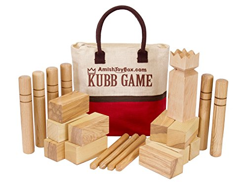 Amish-Made Deluxe Ash Hardwood Kubb Game Set with Clear F...
